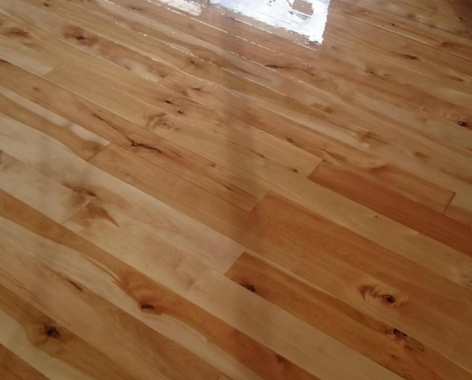 Newly sanded wood floor