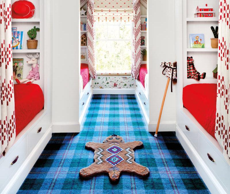 Bright blue carpet